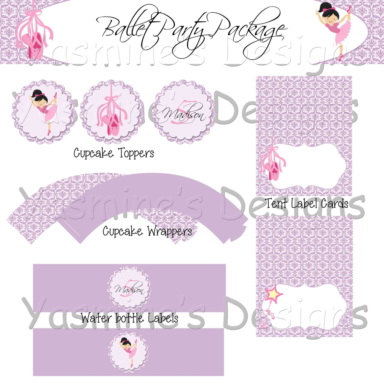Purple & White Damask Ballet Party Package - Birthday Decorations ...