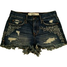 Abercrombie & Fitch Sz 00 W 24 Womens Distressed Ripped Embroidered Deni... - $34.27