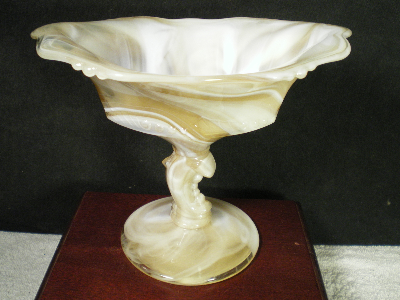 Primary image for HEISEY SLAG DOLPHIN FOOTED COMPOTE~~~REALLY NICE~~(H) mark