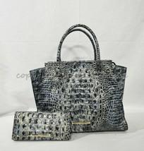 SET of Brahmin Priscilla Satchel/Shoulder Bag + Ady Wallet in Glacier Melbourne - $469.00