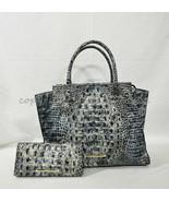 SET of Brahmin Priscilla Satchel/Shoulder Bag + Ady Wallet in Glacier Me... - $469.00