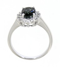 2.02 Carat Blue Sapphire Gemstone 14K White Gold Real Diamond Halo Ring ... - $4,656.00