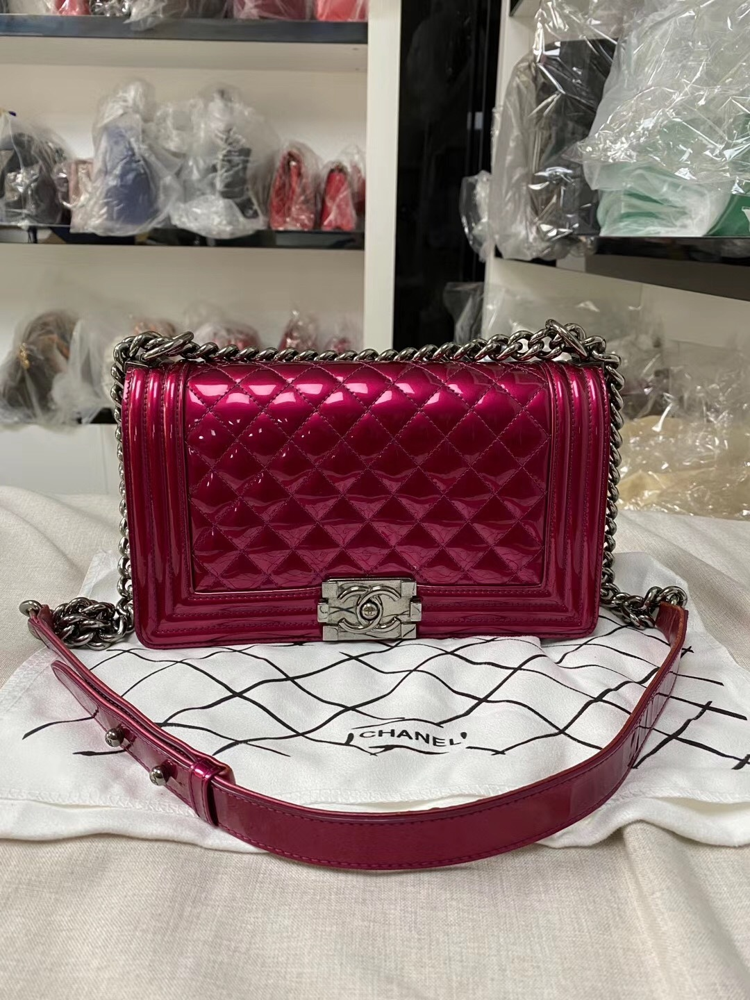 SALE*** Authentic Chanel Boy Metallic Fuchsia Pink Quilted Patent Leather Medium