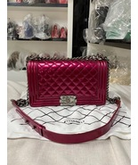 SALE*** Authentic Chanel Boy Metallic Fuchsia Pink Quilted Patent Leathe... - $3,599.99