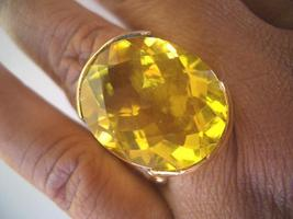 BIG 23X18MM AMAZING LEMON QUARTZ FILIGREE GOLD RING 8.5 sld - $59.00