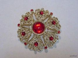 Vintage Ruby Glass Stones Brooch Pin - $24.99