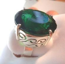 BIG 21X18MM AMAZING GREEN EMERALD FILIGREE RING SZ 8.5 - $79.00