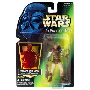 Star Wars POTF Weequay Skiff Guard action figure (green holo card)