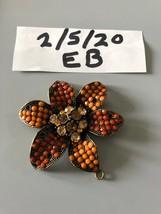 Beautiful Rhinestone Floral Pendant Missing Petal Beads - $7.91