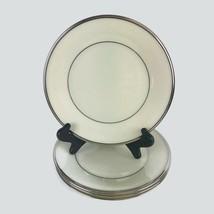 Lenox Solitaire Platinum Banded Fine Bone China Salad Plates Ivory USA 4... - $37.01