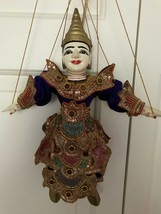 Antique Thailand Asian Marionette Wooden Puppet Hand Painted 14 inch - $223.20