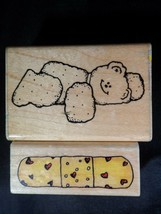 DOTS Love Sick Bear Rubber Stamps Lot 2 Vintage Bandaid Bandage Band Aid - $9.63
