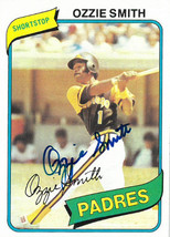 Ozzie Smith signed 1980 Topps San Diego Padres Trading Card- #393 - $39.95
