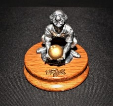 Ron Lee Fine Pewter Clown Bowling Hobo Sportsmen Collection on Wood Base - $23.00