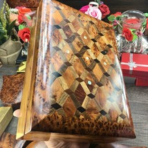 Trinket Mosaic Wooden storage box, Memory box, new year gift box with hi... - $140.25