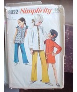 Vintage 1970 1960 Sewing Pattern Girls Flared Pants Tunic Simplicity 802... - $7.79