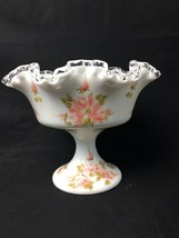 Fenton Handpainted Floral on Silver Crest Compote Footed Bowl White Glass - $49.99