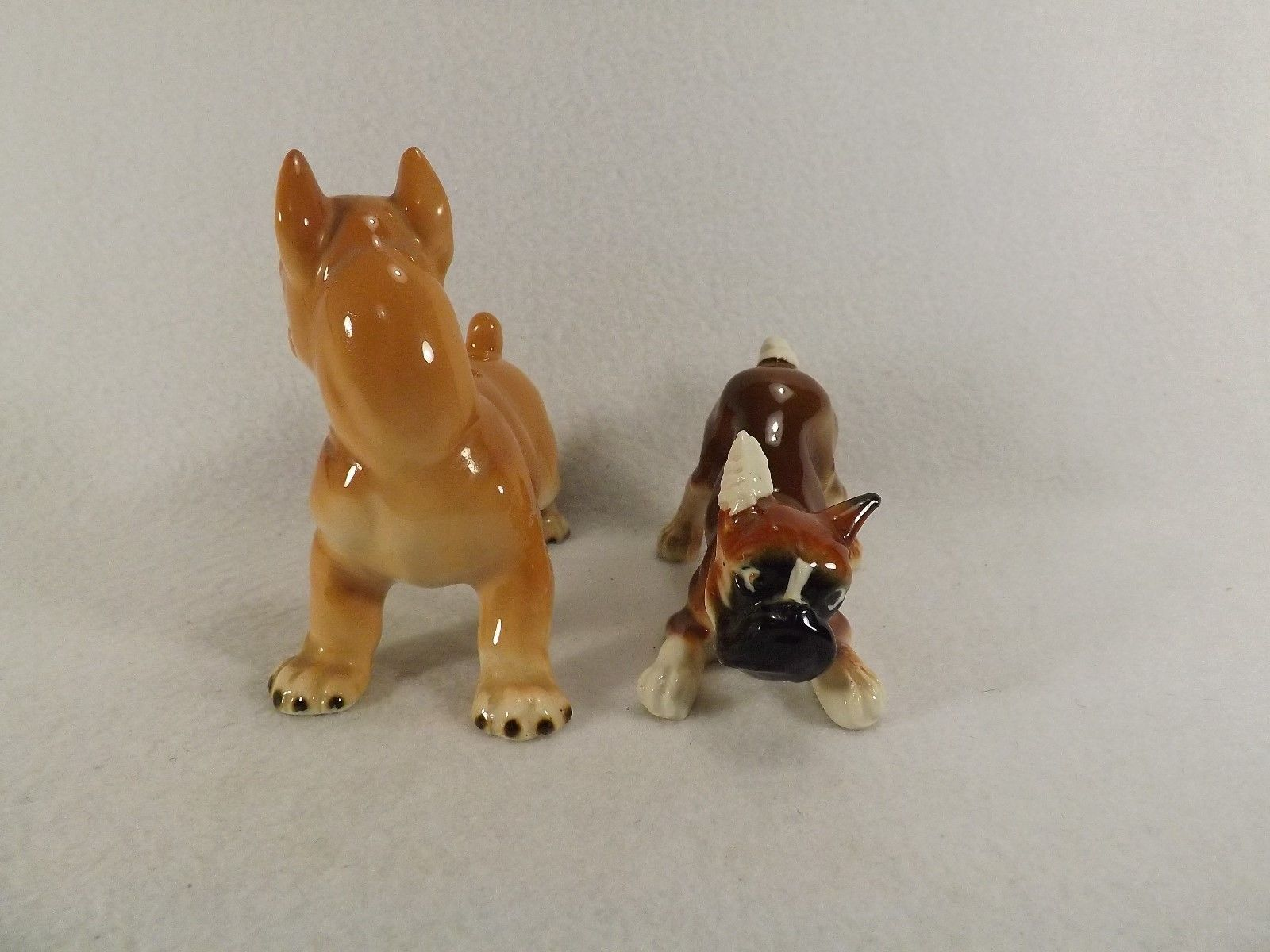 Vintage Pair of Boxer Dog Figures Ucagco Boxer & Bandaged Boxer Glossy VGC