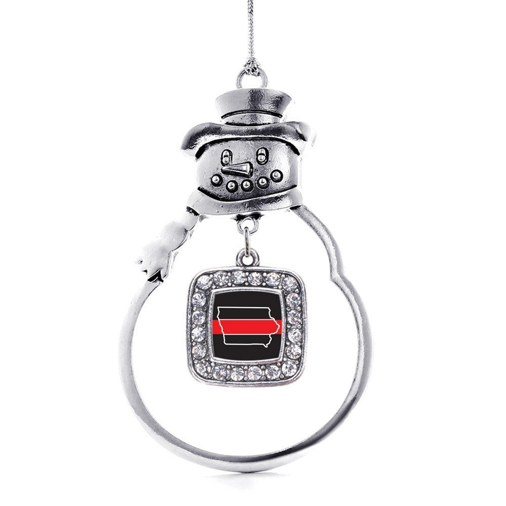 Primary image for Inspired Silver Iowa Thin Red Line Classic Snowman Holiday Ornament