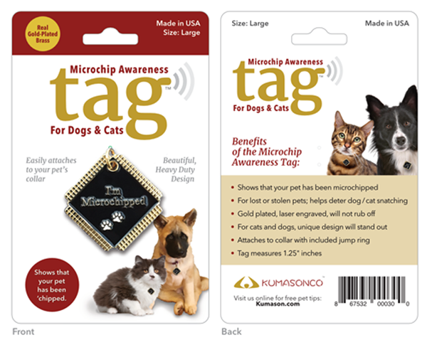 Primary image for Microchip Awareness Pet ID Tag for Dogs and Cats (Large)