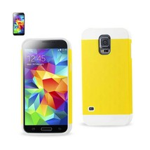 REIKO SAMSUNG GALAXY S5 HYBRID CASE WITH CARD HOLDER IN WHITE YELLOW - $8.05