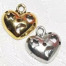 MOON AND STAR CUT OUT HEART FINE PEWTER PENDANT CHARM - 18mm x 18.5mm x 4.5mm