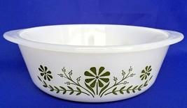 Glasbake Green Daisy White Casserole Dish 1 1/2 QT Flowers Round Baking ... - $13.03