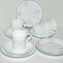 CORELLE PINK TRIO 12 pcs SMALL PLATES CUP/MUG SAUCER PASTEL FLOWERS CORN... - $39.99