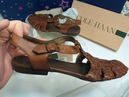 Cole Haan Women's Brown woven Leather slingback Buckle Loafer Shoe 9 B +... - $48.95