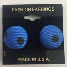 Vintage Polka Dot Fabric Earrings Blue Black Pierced NOS Pinup Retro Round - $7.87