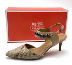 Coach Garland Women's Size 6.5 Snakeskin Chain /leather Strap Wood Heels Shoes - $59.40