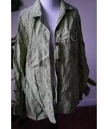 COLDWATER CREEK (L 14-16) Green Linen Button Down Shirt Jacket - $21.99