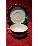 Fitz &  Floyd Renaissance Dark Green Cream Soup Cup with Saucer set - $29.70