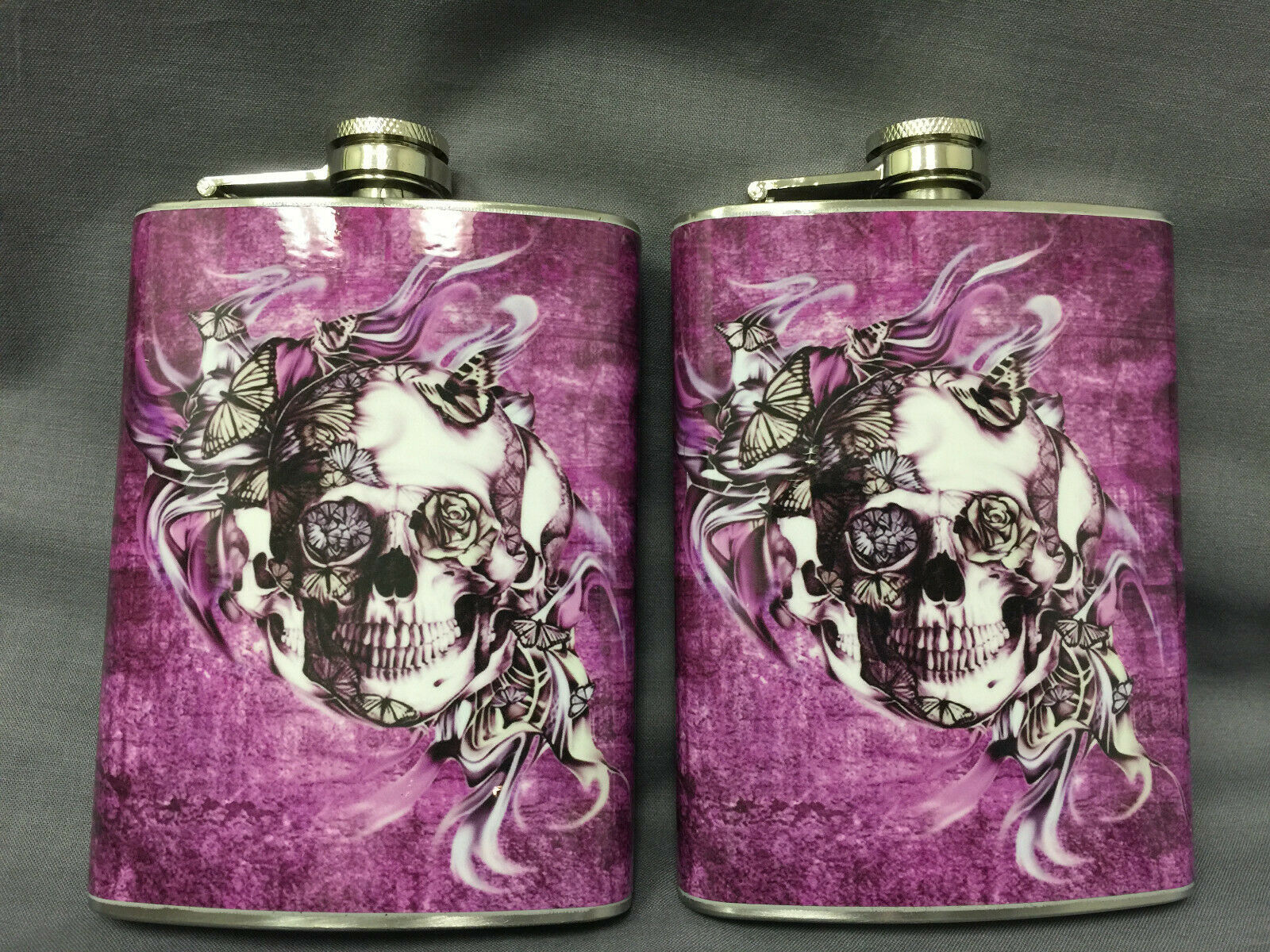 Set of 2 Purple Skull Butterflies Flask 8oz Stainless Steel Hip Drinking Whiskey
