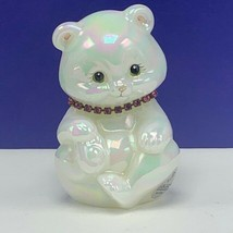 Fenton glass teddy bear figurine birthday sculpture milk necklace signed... - $82.08