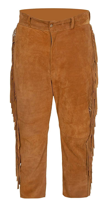 Men's New Native American Tan Buckskin Goat Suede Leather Fringes Pants WP1