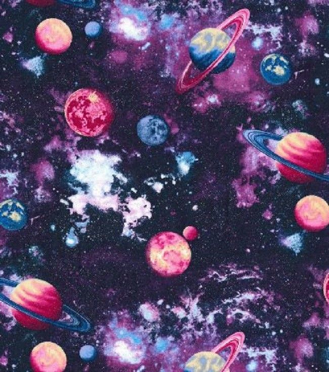 Espace Planets- Fabric Traditions -purples-pinks-blues-bty-sparkling-planets