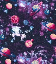 Espace Planets- Fabric Traditions -purples-pinks-blues-bty-sparkling-pla... - $25.63