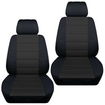 Front set car seat covers fits  Chevy Silverado 2008-2021    Black and Charcoal - $82.99