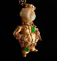 Large signed buddha necklace - good luck gift - couture Art faux jadepen... - $295.00