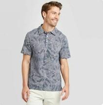 Men's Leaf Print Standard Fit Short Sleeve Polo Jersey Shirt - Goodfellow & Co S