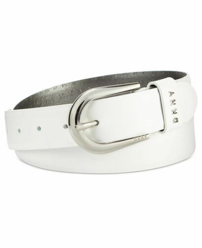 Dkny Belt With Metal Logo Letter (White, S)