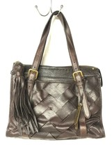 Cole Haan Brown Woven Tote Shoulder Bag Leather Purse Tassel - $68.31