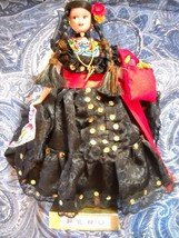 SOFT PLASTIC PERUVIAN DANCER IN LACY BLACK DRESS ON STAND - $5.99