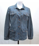 Style Co Stretch Denim Jacket Button Front Tailored Woman's Medium Blue ... - $14.48