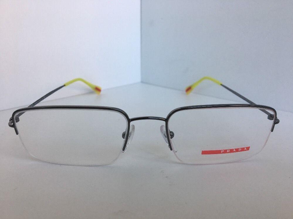 New PRADA VPS 51F VPS51F 5AV-1O1 Silver Semi-Rimless 53mm Men Eyeglasses Frame