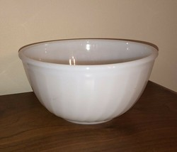 "Vintage Fire King Swirl 7"" White Milk Glass Mixing Bowl  Anchor Hocking ... - $14.99"