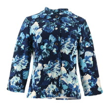 Isaac Mizrahi Watercolor Floral Print Knit Jacket Blue S NEW A305207 - $43.54