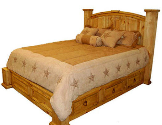 King Under Storage Bed * Storage * Real Wood * Free Shipping * Western * Rustic