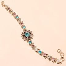 925 Sterling Silver Bracelet Swiss Pink Blue White Topaz Cutstone Jewelr... - $86.17